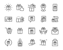 Set Of Gift Icons, Gift Box, Birthday Gift, Surprise