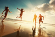 Happy tourists runs at sunset sea beach