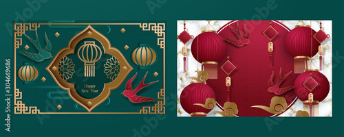Obraz Happy chinese new year. Set of cards. template banner, poster in oriental style. Japanese, chinese elements. Translation : Happy New Year. Vector illustration - fototapety do salonu