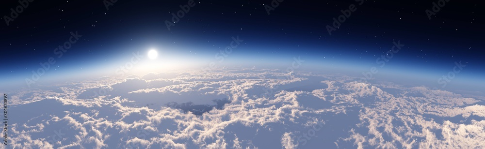 The sun over the clouds, panorama of the clouds, flight over the clouds. 3d rendering