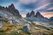 Landscape of picturesque autumn mountains in natural park Tre cime di lavaredo