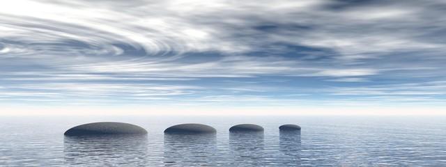Fototapeta na wymiar beautiful meditation landscape on the ocean - 3d rendering