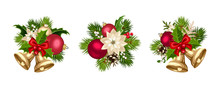 Set Of Three Vector Christmas Decorations With Red And Gold Balls, Bells, Poinsettia Flowers, Fir-tree Branches, Cones, Holly And Mistletoe Isolated On A White Background.
