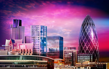 Abstract Purple Illustration With Cityscape Of London On Sunset Background
