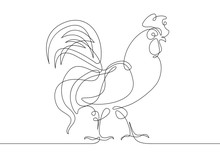 Continuous Line Drawing Rooster Cock