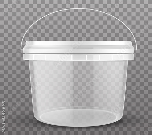 Fotografía  Clear plastic bucket closed by lid isolated on transparent background