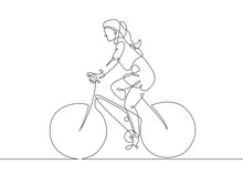 Continuous Line Drawing Woman Girl On A Bicycle