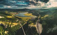 Aerial View Of A Bridge Crossi...