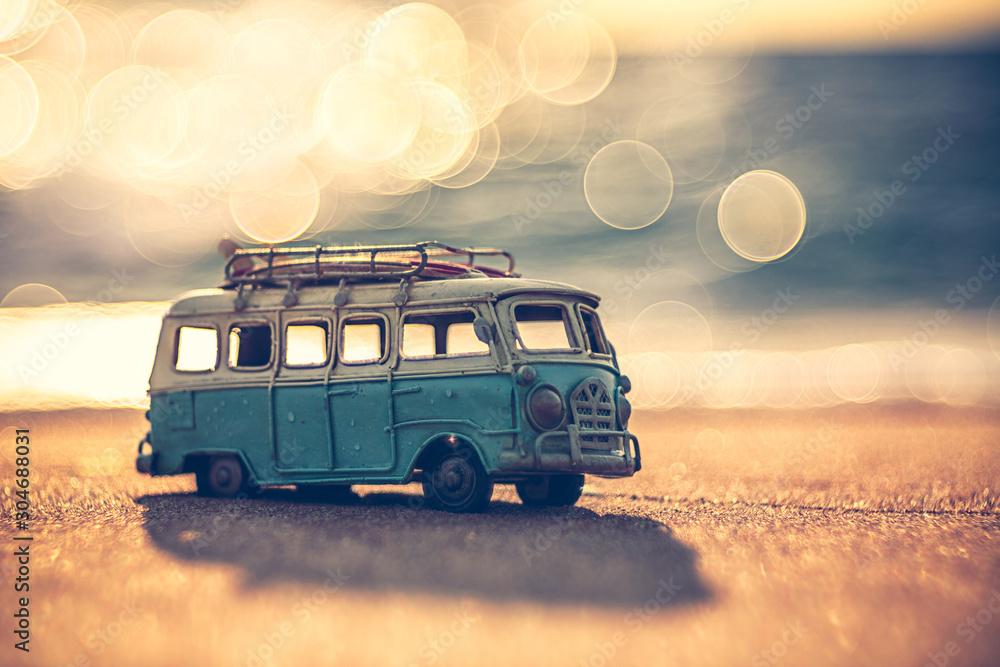 Fototapety, obrazy: Vintage miniature van in vintage color tone, travel concept
