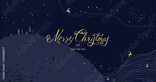 Fotobehang Vrouw gezicht Winter Holidays banner design. Website or social media long header template for Christmas celebration with sparkles and space for text.