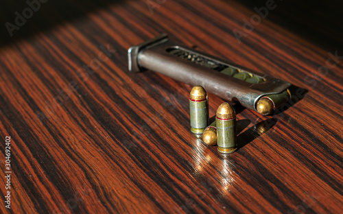 Slika na platnu combat weapons with ammunition for defense and security