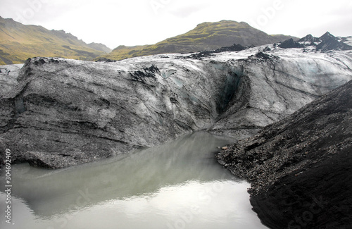 Fotografia, Obraz Solheimajokull Glacier,  Iceland: Solheimajokull Glacier is one of the most accessible in Iceland and is part most South Coast tours of the island