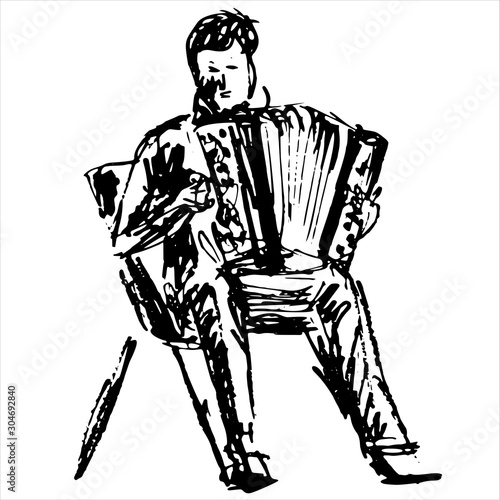 Musical instrument accordionist sit - black and white hand draw vector illustrat Tablou Canvas