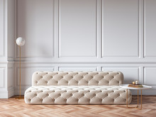 Classic White Interior With Capitone Chester Sofa, Mouldings, Wooden Floor, Floor Lamp, Coffee Table. 3d Render Illustration Mock Up.