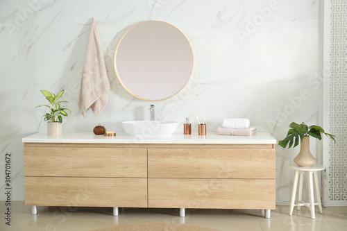 Fototapety, obrazy: Round mirror over vessel sink in stylish bathroom interior