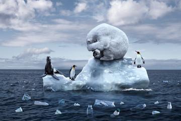 bijeli medvjed sjedi na ledenjaku koji se topi
