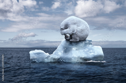polar bear sits on a melting glacier Canvas-taulu
