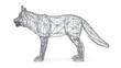 3D rendered mesh dog on isolated white background. 3d illustration.