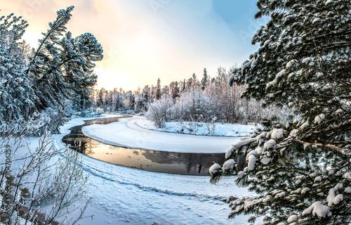 Foto auf AluDibond Grau Winter snow forest river view. Winter river in snowy forest landscape