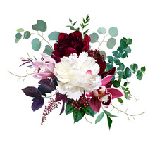 Pink Cymbidium Orchid Flower, Burgundy Red And White Peony