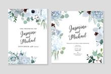 Winter Grey And Green Jade Color Vector Design Cards.