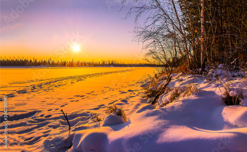 Spoed Fotobehang Aubergine Winter sunset snow nature landscape. Sunset winter nature view