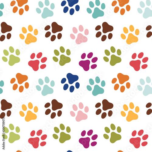 obraz dibond Dog's paw prints seamless pattern