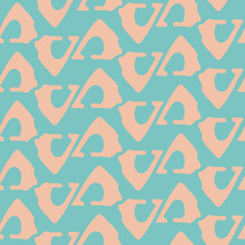 Abstract Blush Pink Woven Wicker Design Made With Loose Tribal Triangles. Seamless Vector Pattern On Aqua Blue Background. Great For Wellness, Spa Products, Fabric, Packaging, Stationery, Texture