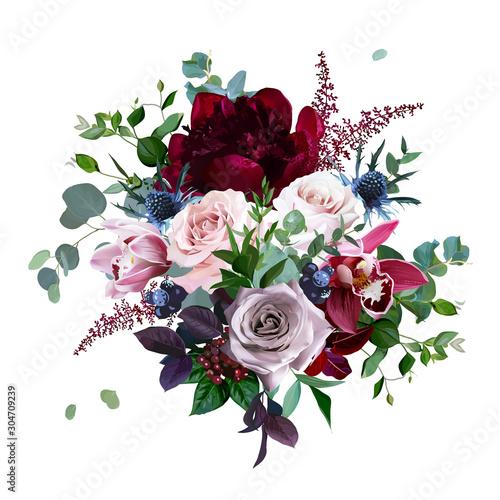 Slika na platnu Luxury fall flowers vector bouquet