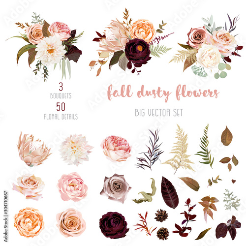 Obraz Floral pastel watercolor style big vector collection - fototapety do salonu