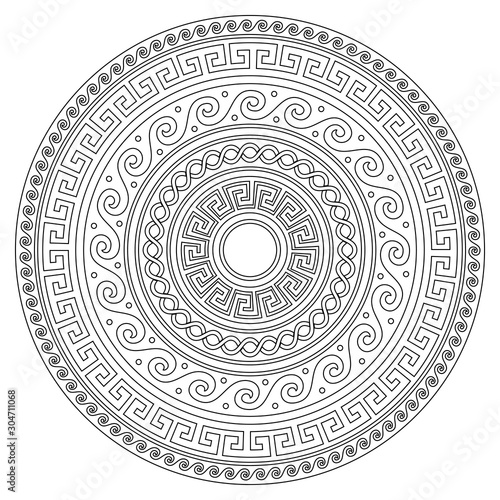 Fototapeten Künstlich Ancient Greek round key mandala pattern with stroke - meander art in black and white perfect for adults coloring book