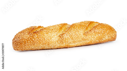 Fototapeta French wheat baguette with sesame seeds obraz