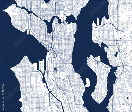 map of the city of Seattle, Washington, USA Wallpaper Mural