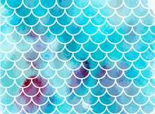 Blue Mermaid Scales. Watercolor Fish Scales. Underwater Sea Pattern. Vector Illustration. Perfect For Print Design For Textile, Poster, Greeting Card, Invitation.
