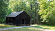 A Historic Wooden School In The Forest Of Great Smoky Mountains National Park