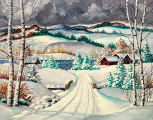 Original Oil Painting Of A Beautiful Rural Winter Landscape With Snowy Fields And Village Houses Near A Stream. Christmas Holiday Concept