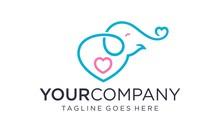 Cute Elephant Baby Logo Design...