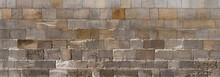 Panorama Kirchenmauer - Sehr Alte, Grau Braune Mauer Aus Eckigen Steinen