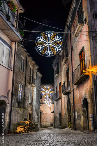 San Lorenzello, a little town in Benevento city, Campania, covered with Christma Canvas Print