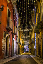 San Lorenzello, A Little Town In Benevento City, Campania, Covered With Christmas Lights