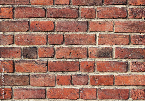 Old brick wall texture. Wall of red old bricks. Background. - 304727443