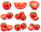 Collection of fresh tomato isolated on white background