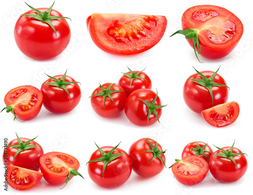 Fototapeta Collection of fresh tomato isolated on white background obraz