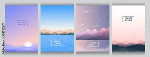Obraz Abstract vector covers set. A4 template. Gradient color backdrop. Futuristic flat style. Backgrounds set. UI design. Sunset with fog, mountains and forest near water, evening scene, countryside road. - fototapety do salonu
