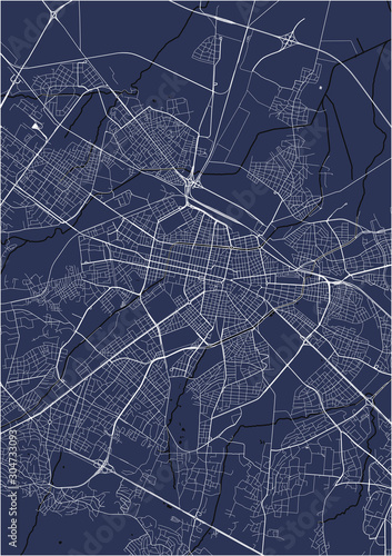 map of the city of Sofia, Bulgaria Canvas Print