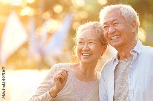 Fotografie, Tablou  outdoor portrait of happy senior asian couple