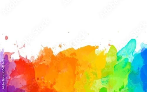 Obraz abstract brush hand drawn watercolor splatter isolated colorful background ink blots splash raster illustration rainbow - fototapety do salonu