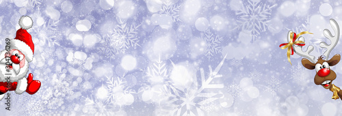 Photo Blue abstract Christmas snowflakes and animated Santa Claus and Rudolph the reindeer bokeh effect banner background/backdrop