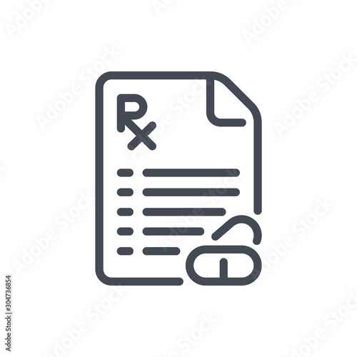 Prescription document with pills line icon Canvas Print