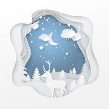 Vector Winter Night Scene With...